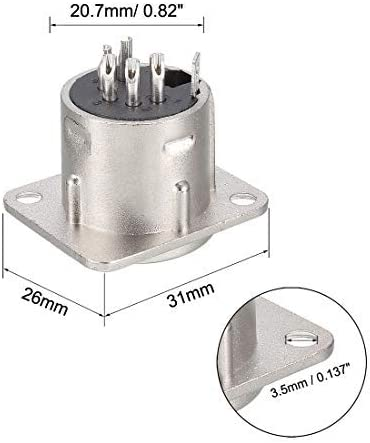 NA 5-Pin XLR Male Jack Panel Mount for Microphone Connector Adapter Audio Converter Speaker Silver Tone 1Pcs YL3072