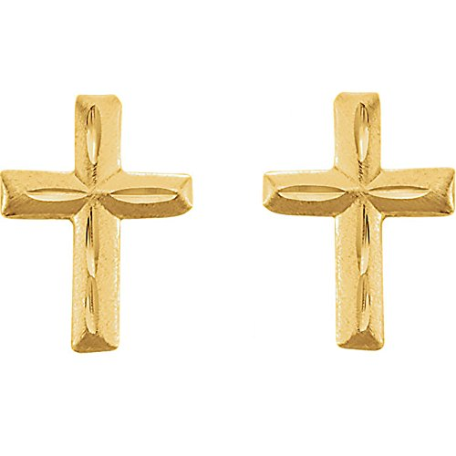 14k Yellow Gold Girls Cross Earrings Threaded Safety Posts 9X6.75MM