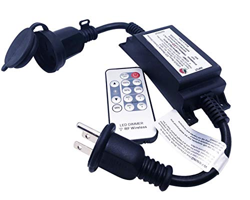 SUNYE Max Power 200W Waterproof Outdoor String Lights Wireless Remote Control, 150Feet Range, Memory, Stepless Dimming, IP68 Waterproof. UL 3 Prong Remote Control Dimmer