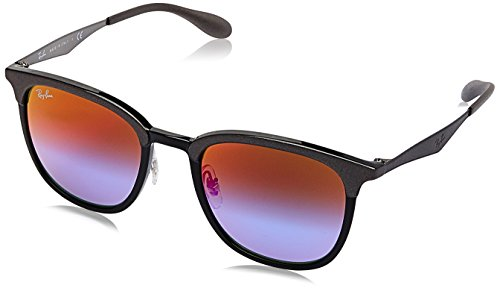 - Ray-Ban RB4278 Square Sunglasses, Black & Matte Grey/Blue Violet Gradient Mirror, 51 mm