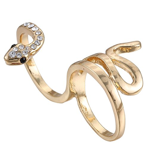 [eManco Statement Snake Rings Double Fingers for Women Crystal Jewelry Gold] (Simple 3 People Costumes)