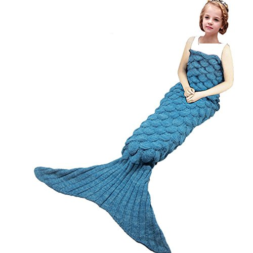Mermaid Tail Blanket,Kyson Mermaid Crochet Blanket for Adult and Kids, All Season Sleeping Bag (Scale Dark (Little Mermaid Sleeping Bag)