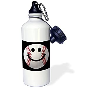 "3dRose wb_76657_1 ""Baseball Smiley Face Sporty Sports fan smilie red and white ball on dark black background"" Sports Water Bottle, 21 oz, White"