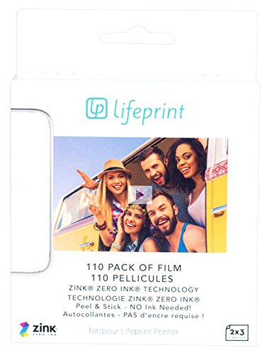 Lifeprint 110 pack of film for Lifeprint Augmented Reality Photo AND Video Printer. 2x3 Zero Ink sticky backed film (PH05) Print Pictures Photo Paper