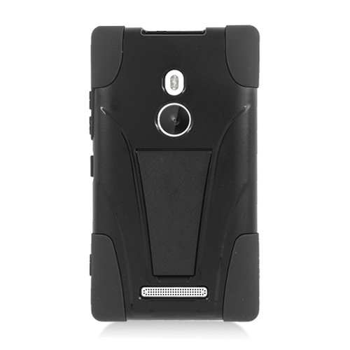 Eagle Cell Nokia Lumia 925 Hybrid Armor Y Case with Kickstand - Retail Packaging - Black