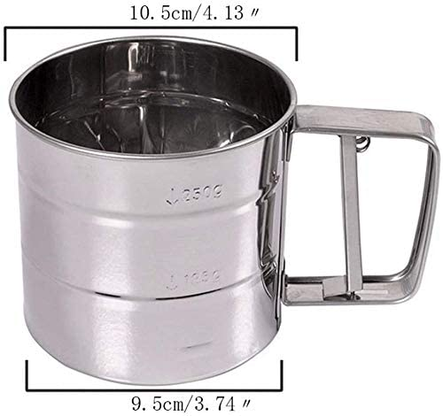 Baking Shaker Sieve Cup Horuhue Stainless Steel Shaker Sieve Cup Baking Sifters with Measuring Scale Mark for Flour Icing Sugar