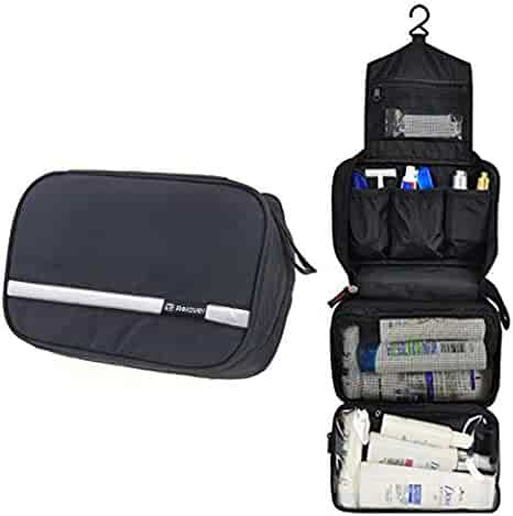 Relavel Travel Toiletry Bag Business Toiletries Bag for Men Shaving Kit Waterproof Compact Hanging Travel Cosmetic Pouch Case for Women Black