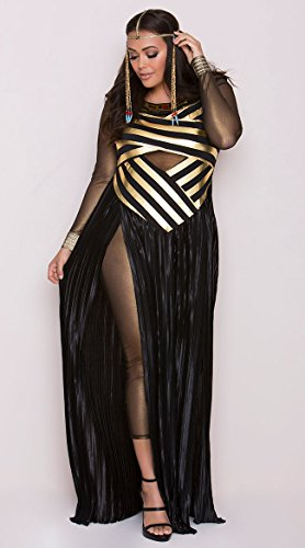 Halloween Women Plus Costumes (Leg Avenue Women's Plus Size Nile Queen Costume, Black/Gold,)