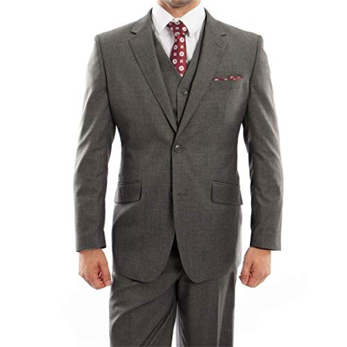 - Mens Gray 3 Piece 2 Button Wool Classic Fit Suit New with Matching Vest (54R/48Waist Regular)