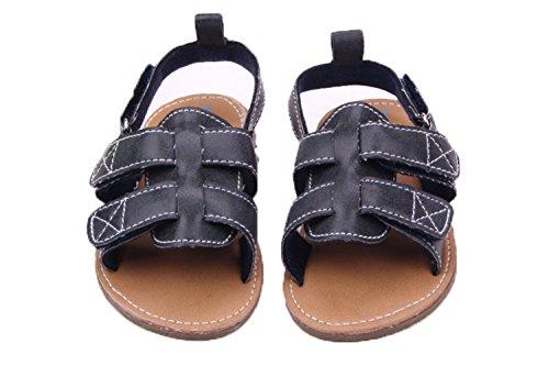 etrack-online bebé Prewalker antideslizante de cuero suave de niños verano sandalia negro azul Talla:12-18month azul