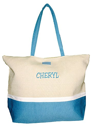 Color Block Zippered Top Tote Beach Bag 21