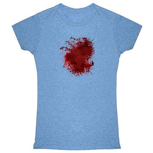 Pop Threads Blood Splattered Horror Bloody Halloween Costume Heather Blue 2XL Womens Tee Shirt ()