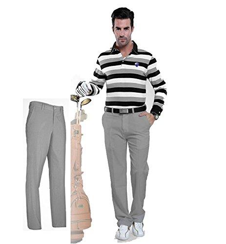 Kayiyasu ロングパンツ メンズ ゴルフウェア 防水 UVカット 男性用 撥水 長ズボン 021-xsty-kuz005(L グレー)