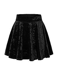 Urban CoCo Women's Vintage Velvet Stretchy Mini Flared Skater Skirt