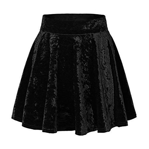 (Urban CoCo Women's Vintage Velvet Stretchy Mini Flared Skater Skirt (S, Black-Series 2) )