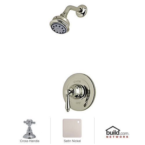 Stn Country Bath Shower - Rohl AKIT21XM-STN Kit Country Bath Pressure Balance Shower Package with Cross Handle Includes B240Nsh 1440/6 & A1400Xm, Satin Nickel