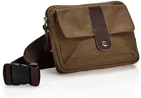 Ibagbar Small Fashion Multifunction Vintage Canvas Waist Bag Fanny Pack Running Pack Outdoor Bag Sporting Bag Cycling Leisure Bag with Detachable Belt for Men and Women