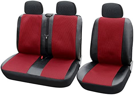 Burgundy Eco-Leather Universal VAN Seat Covers 2+1 for IVECO DAILY
