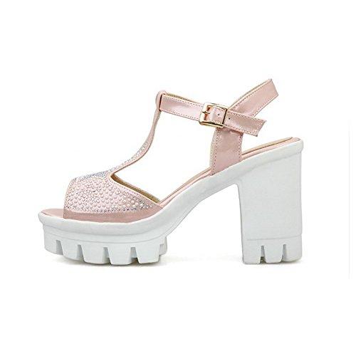 Zehensandalen Damen High Solide AgooLar Offene Schnalle Weiches Heels Pink Material 18HqxWqwp