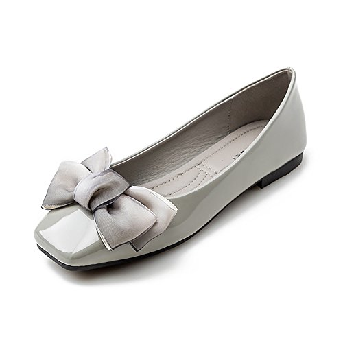 Meeshine Womens Square Toe Bowknot Ballet Flats Comfort Slip on Dress Flat Shoes Grey-05 8.5 US