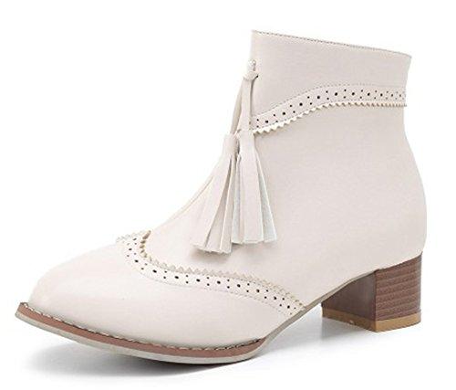 Beige Aisun Boots Franges Bottines Low Talons Classique Bloc Femme Ar4Aq