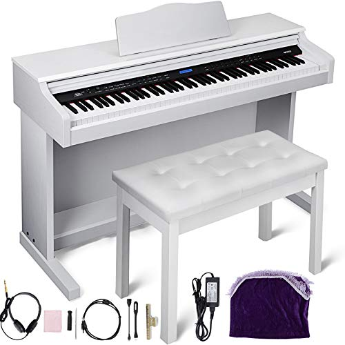 Happybuy White Digital Piano 88-Key Electric Piano Keyboard w/ 3-Pedal Board Bench Music Stand Slide Cover for Beginner/Adults (A-W/Stand +Bench +3-Pedal+Adapter, White W/Bench)