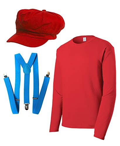 Super Plumber Brothers Friends Costume Kit (Hat,Shirt,Suspenders) - Red - -