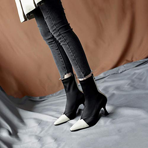 Boots Leather Stitching Round Shoes Leather Fall Calf Heel Women's Boots Snow XUE Mid Martin Boots Ankle Boots Boots Low Toe B Boots Winter HZvpn5a