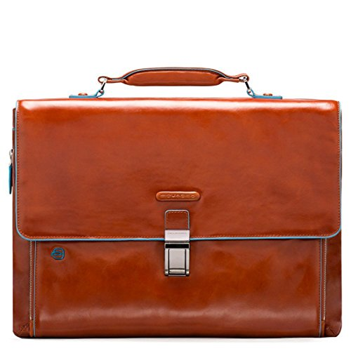 Piquadro Blue Square - Piquadro Blue Square expandable computer portfolio briefcase - CA3111B2 (Orange)