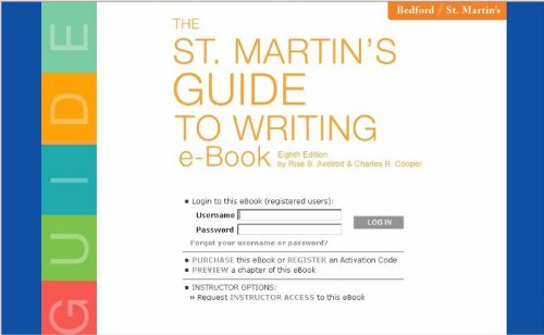 The St. Martin's Guide to Writing e-Book and Web Site: Student Access Code