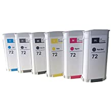 Tyjtyrjty Set of 6 Color (Matte black , Photo black , Cyan , Magenta , Yellow , Gray) Compatible Hp 72 Ink Cartridges for Hp Designjet T610/620/770/1100/1200