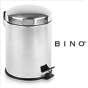 BINO Stainless Steel 1.3 Gallon / 5 Liter Round Step Trash Can, Polished Steel