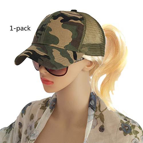 M_Eshop Ponytail Baseball Cap Hat Ponycap Messy High Bun Ponytail Adjustable Mesh Trucker Baseball Cap Hat for Women Men Girl (Camouflage(1 Pack)) ()