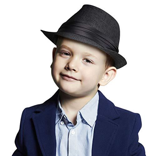 AbbyLexi Kids Straw Trillby Fedora Hat Short Brim Sunhat Panama Cap, Black]()