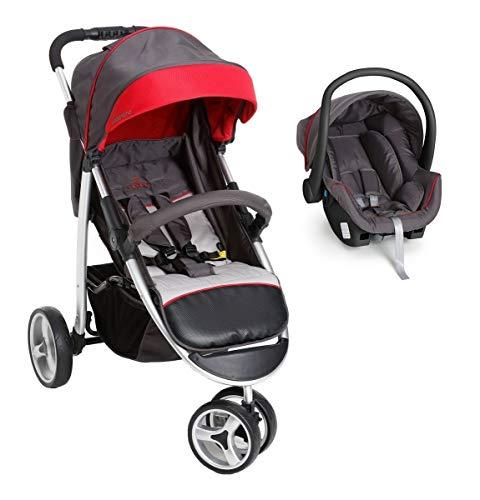 Carrinho Apollo E Bebê Conforto - Galzerano Grafite Vermelho