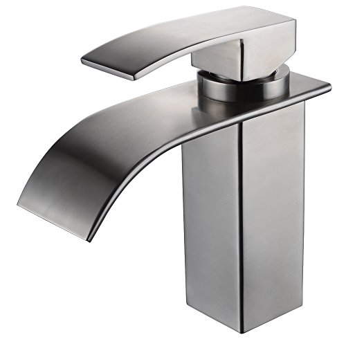 KES SUS304 Stainless Steel Waterfall Bathroom Vanity Sink Faucet with Extra Large Rectangular Spout Lead-free, Brushed Finish, L3186A