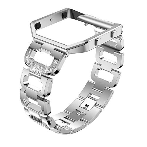Aobiny Watch Band, Rhinestone Bling Replacement Accessory Straps for Women,Stainless Steel Bands with Frame for Fitbit Blaze (Silver)