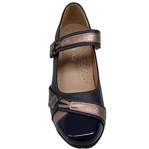 Fantasia Strap Komfortable Low Damen Slip Sohle On Boutique Schuhe Blau Lackleder Wedge HrHqUR