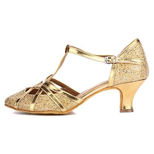 Minishion Womens TH094 Cross Strap Printed Satin Wedding Ballroom Latin Taogo Dance Pumps Shoes