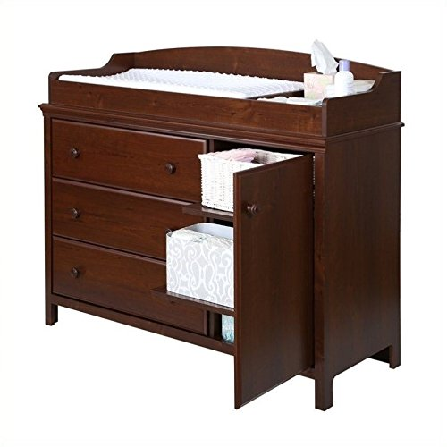 South Shore Convertible Changing Table with Storage Drawers and Removable Changing Station, Sumptuous Cherry