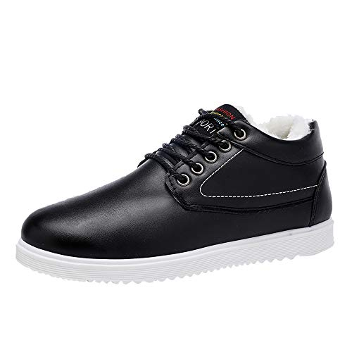 kaifongfu PU Leather Shoes Casual Men Lace-Up Comfortable Shoes to Keep Warm (Black,42)