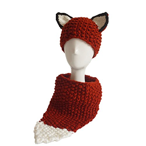 Jenny Shop Winter Kids Warm Fox Animal Hats Knitted Coif Hood Scarf Beanies for Autumn Winter, Wine - Ski Francisco San Shop