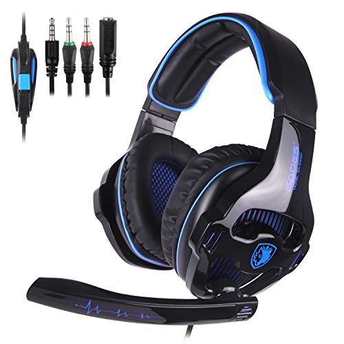 SADES 2018 Newest SA810 Gaming Headset Over Ear Stereo Headphones Bass Gaming Headphones with Noise Isolation Microphone Volume Control for Xbox One PS4 PC Laptop Mac Mobile(Stand Not Included) ()