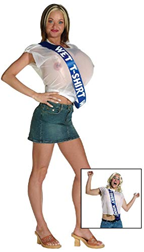 Mens Ladies Wet T-Shirt Winner Boobs Comedy Rude Embarrassing Stag Do Night Party Hen Fancy Dress Costume -