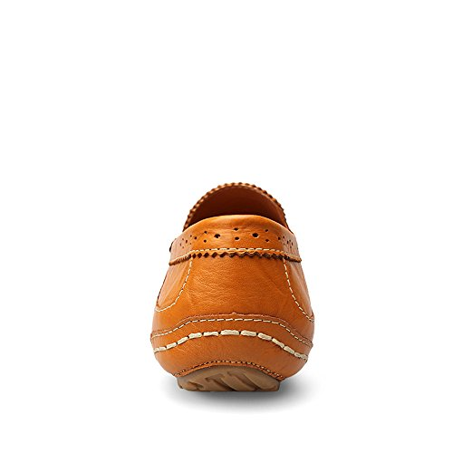conducción Slip Brown de Carve Genuino los Vamp de Suela Hollow Mocasines Oxfords en Hombres de Cuero Mocasines Patrones Bullock wq8F5Cfx