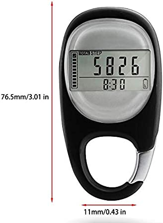 LCD Step Counter for Men Accurately Track Steps and Miles//Km Calories Burned /& Activity Time 7 Days Memory Auoker 3D Digital Pedometer Simple Pedometer for Walking with Carabiner Clip Women