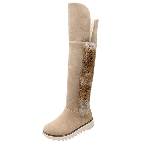 Low Beige Heel Classic Snow Long Concise Carolbar Women's Boots qFgwt11zx