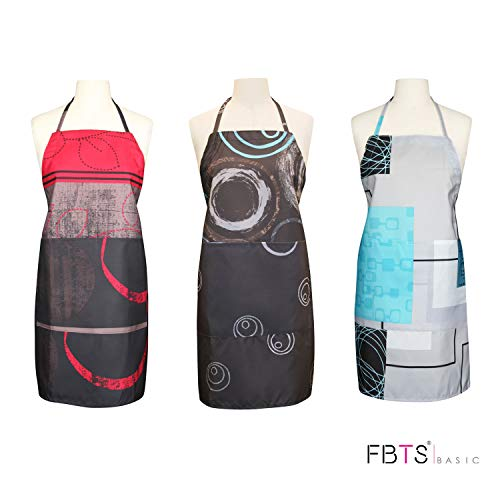 FBTS Prime Cute Apron Kitchen Sets 3 Pack for Women and Men Water Resistant Adjustable Buckles with Two Big Front Pockets (Dark) (Two Apron Adjustable Pocket)