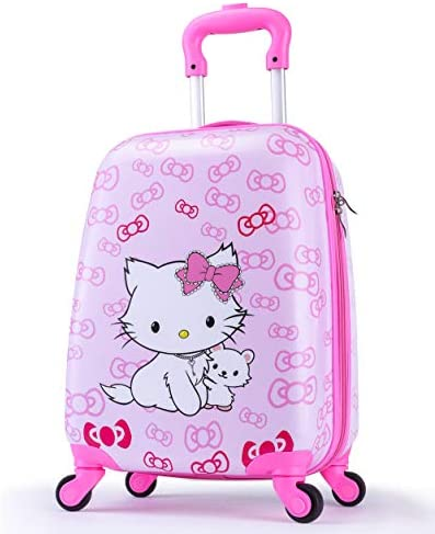 Upgrade Kids Luggage for Girls, Toddler Travel Suitcase, 4-Spinner Wheels, Superior ABS PC, Hardshell, Carry On Trolley Cute Bowknot Cat Pink