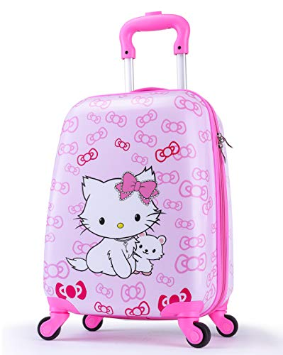 (Girls Suitcase Hardshell Spinner Wheels - Kids Luggage 18 inch Carry On Bowknot Cat Travel Trolley LeLeTian)